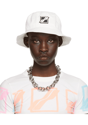 We11done White Square Logo Bucket Hat