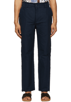 Bloke Navy Distressed Edges Trousers
