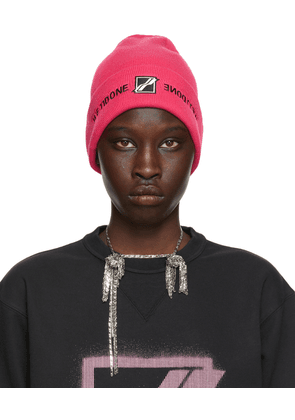 We11done Pink Embroidered Logo Beanie