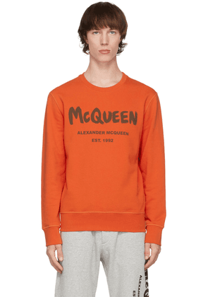 Alexander McQueen Orange Graffiti Sweatshirt