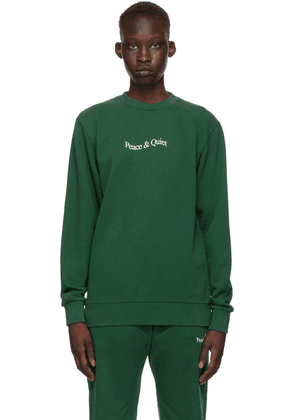 Museum of Peace & Quiet SSENSE Exclusive Green Word Mark Sweatshirt