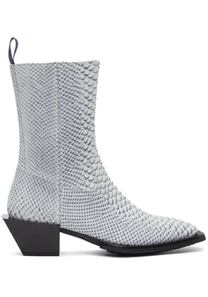 Eytys Off-White & Navy Snake Luciano Boots