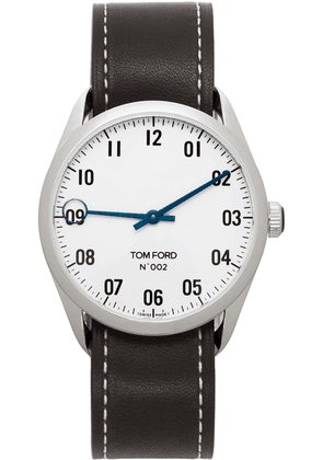 TOM FORD Black & Silver Leather 002 Watch