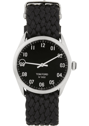 TOM FORD Silver & Black Leather 002 Watch