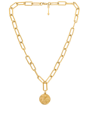 Ellie Vail Leonie Paper Clip Chain Coin Necklace in Metallic Gold.