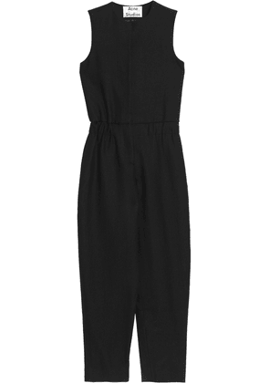 Acne Studios Cropped Wool-twill Jumpsuit Woman Black Size 38