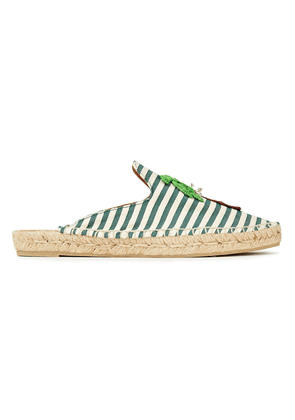 Castañer Rumi Embellished Raffia And Canvas Slippers Woman Green Size 35