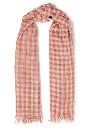 Chan Luu Frayed Checked Cashmere And Silk-blend Gauze Scarf Woman White Size --