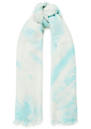 Chan Luu Frayed Tie-dyed Cashmere And Silk-blend Gauze Scarf Woman Turquoise Size --