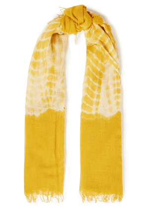 Chan Luu Tie-dyed Cashmere And Silk-blend Gauze Scarf Woman Mustard Size --