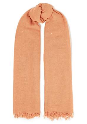 Chan Luu Sequin-embellished Cashmere And Silk-blend Scarf Woman Peach Size --