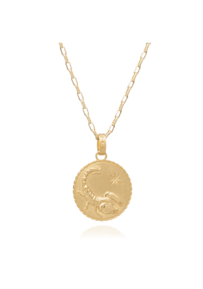 Rachel Jackson London Statement Zodiac Art Coin Scorpio Long Necklace Gold