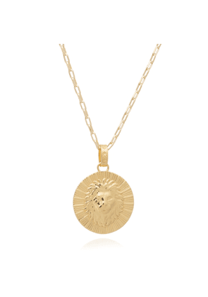 Rachel Jackson London Statement Zodiac Art Coin Leo Long Necklace Gold