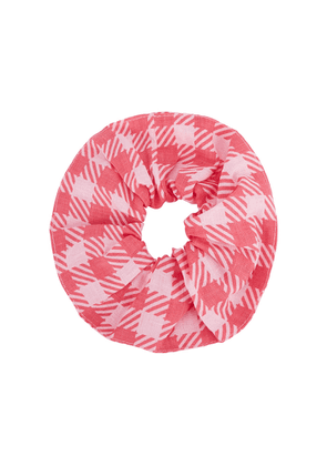 Holiday The Label Pink Gingham Linen Scrunchie