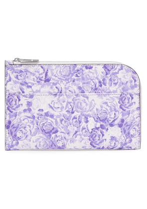 Ganni Floral-print Textured-leather Pouch Woman Lilac Size --