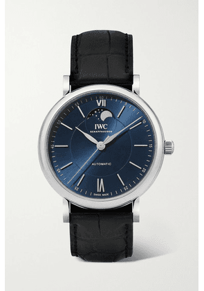 IWC SCHAFFHAUSEN - Portofino Automatic Moon Phase 40mm Stainless Steel And Alligator Watch - Silver