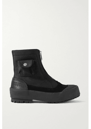JW Anderson - Suede And Rubber-trimmed Twill Ankle Boots - Black