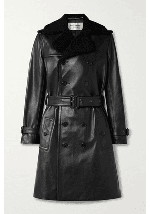 SAINT LAURENT - Belted Shearling-trimmed Leather Trench Coat - Black
