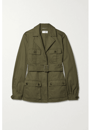 SAINT LAURENT - Saharienne Belted Cotton And Ramie-blend Twill Jacket - Green