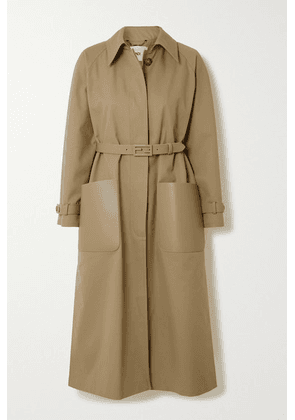 Fendi - Belted Leather-trimmed Twill Trench Coat - Beige