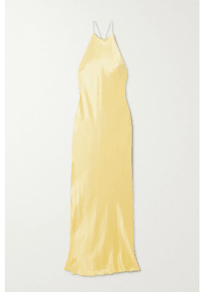 Michael Lo Sordo - Hudson Crystal-embellished Open-back Silk-satin Maxi Dress - Yellow