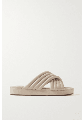 Porte & Paire - Quilted Leather Slides - Beige