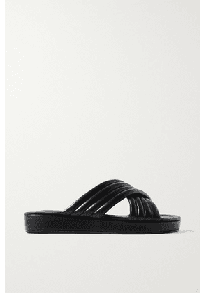 Porte & Paire - Quilted Leather Slides - Black