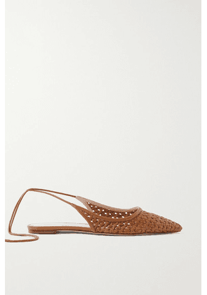 Porte & Paire - Woven Leather Point-toe Flats - Brown
