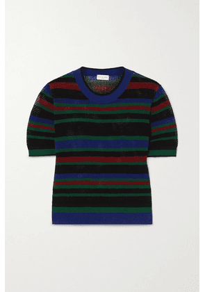 Dries Van Noten - Striped Mesh T-shirt - Black