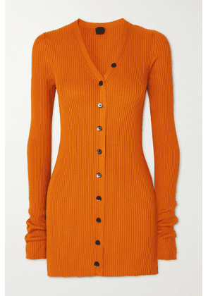 Petar Petrov - Eliza Ribbed Silk Cardigan - Orange