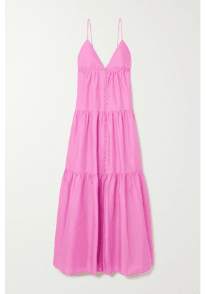 Matteau - + Net Sustain Tiered Organic Cotton-poplin Maxi Dress - Pink