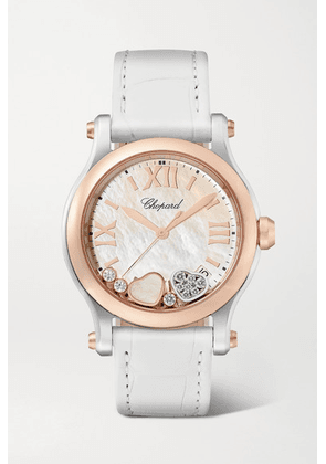 Chopard - Happy Sport 36mm 18-karat Rose Gold, Stainless Steel, Alligator, Mother-of-pearl And Diamond Watch