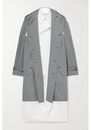 Junya Watanabe - Layered Checked Wool-blend And Cotton-poplin Trench Coat - Gray