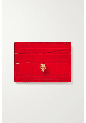 Alexander McQueen - Skull Croc-effect Leather Cardholder - Red