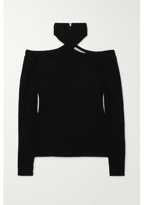 Christopher Kane - Cutout Ribbed Wool Turtleneck Sweater - Black