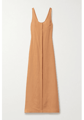 BONDI BORN - Mallorca Linen-blend Maxi Dress - Peach