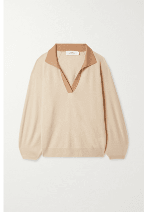 Arch4 - + Net Sustain Lincoln Two-tone Organic Cashmere Sweater - Beige