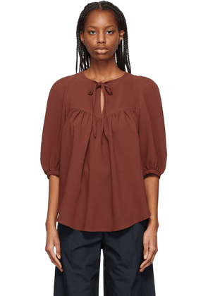See by Chloé Brown Crepe Blouse