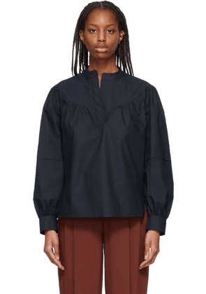 See by Chloé Navy Layered Poplin Blouse