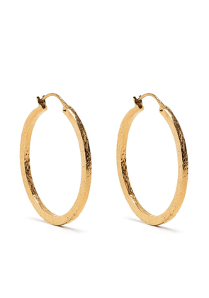 Saint Laurent hammered-effect small hoops - Gold