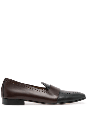 Edhen Milano Hamptons perforated leather loafers - Brown