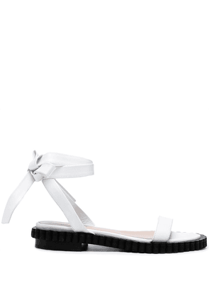 Coliac bow-detail leather sandals - White