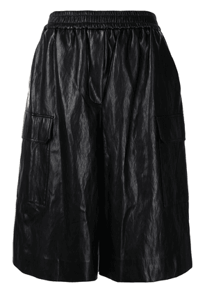 Juun.J elasticated-waist leather shorts - Black