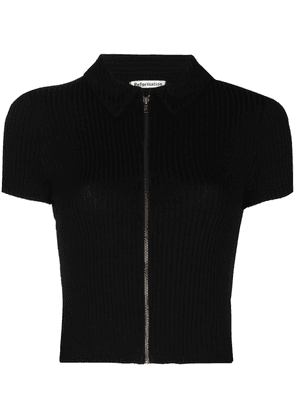 Reformation Zak polo zip-up top - Black