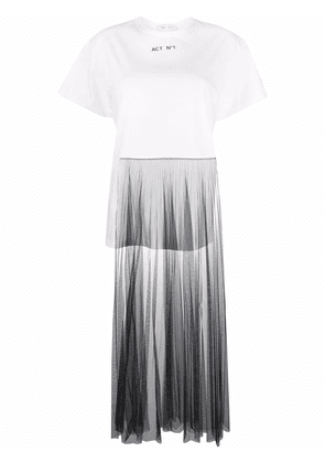 Act N°1 pleated-panel T-shirt - White