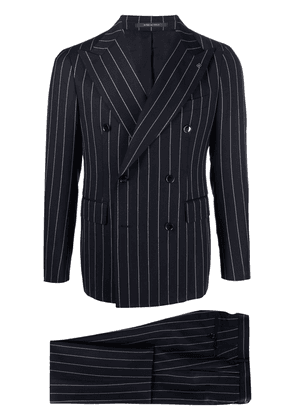 Tagliatore stripe-detail double-breasted suit - Blue