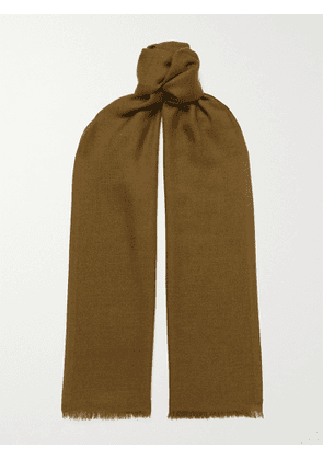 LORO PIANA - Fringed Cashmere and Silk-Blend Scarf - Men - Green