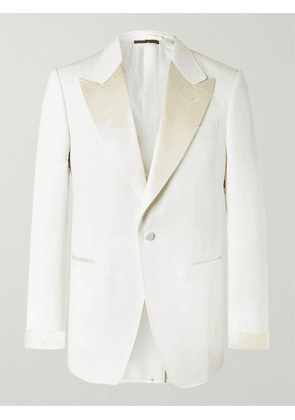 TOM FORD - Slim-Fit Satin-Trimmed Wool and Mohair-Blend Tuxedo Jacket - Men - Neutrals - IT 44