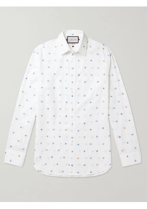 Gucci - Embroidered Cotton Shirt - Men - White - UK/US 16