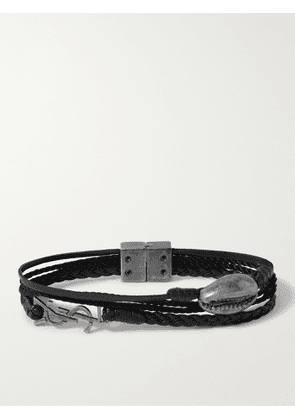 SAINT LAURENT - Braided Leather, Rope and Burnished Silver-Tone Bracelet - Men - Black - M
